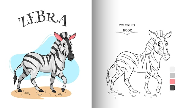 Animal character funny zebra in cartoon style coloring page. children's illustration. vector illustration.
