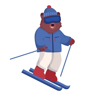 The animal character is brown, a bear in a ski suit and glasses is skiing, a winter form of outdoor activities.