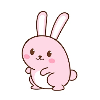 Animal character a pink cute rabbit standing on white background