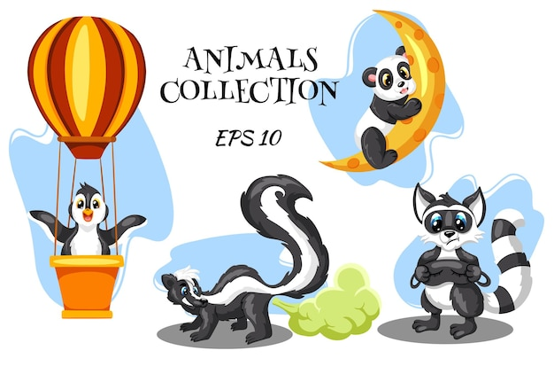 Animal characters. penguin in a hot air balloon. skunk with a smelly cloud. raccoon with a mask for sleeping. panda on the moon. cartoon style.