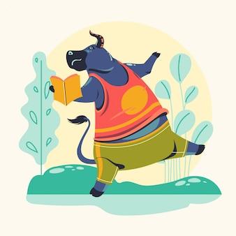 Animal characters reading books vector illustration. buffalo bookworm