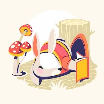 本のベクトル図を読んで動物キャラクター。うさぎの本の虫