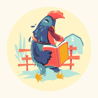 Animal characters reading books vector illustration. rooster chicken bookworm