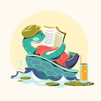 Animal characters reading books vector illustration. turtle bookworm