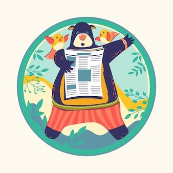Animal characters reading newspaper vector illustration. bear bookworm
