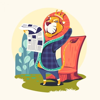 Animal characters reading newspaper vector illustration. lion bookworm