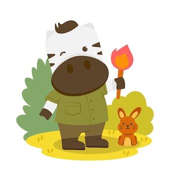 횃불을 들고있는 얼룩말과 옆으로 앉아있는 토끼가있는 동물 캐릭터.