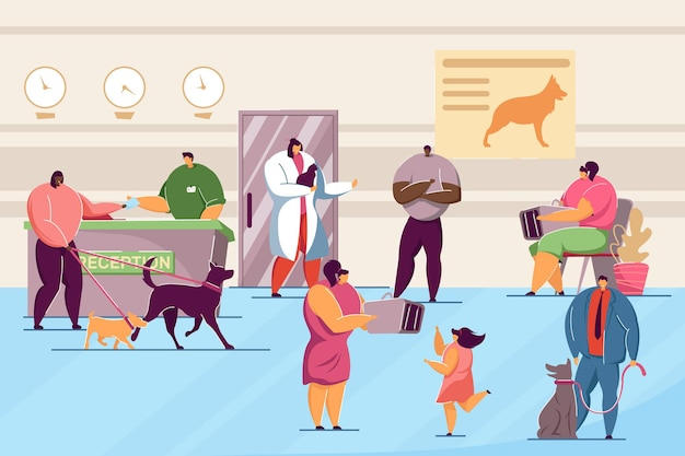 Animal clinic with pets and visitors flat vector illustration. veterinary hospital interior with doctors and patients caring about dogs and cats. animal, pets, medical care, veterinary concept