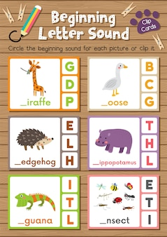 Animal clip cards matching game of beginning letter sound