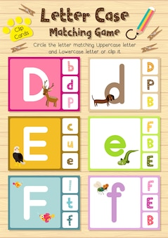 Animal clip cards matching game of letter case
