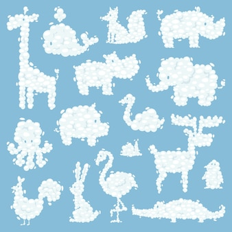 Animal clouds silhouette pattern vector illustration