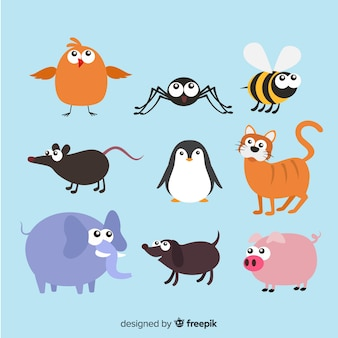 Animal collection in children's style