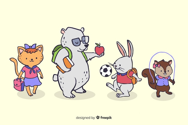 Animal collection with back to school concept