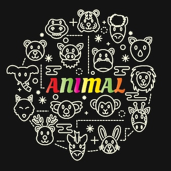 Animal colorful gradient with line icons set