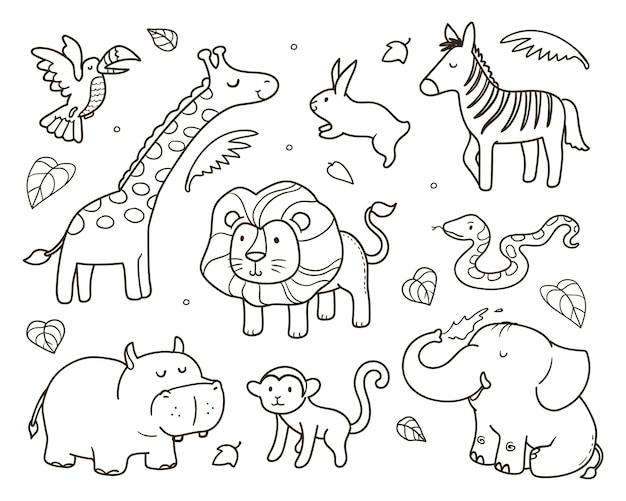 Animal coloring illustration