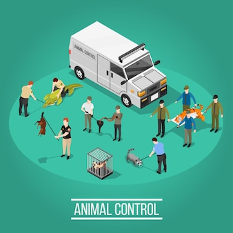 Animal control isometric composition