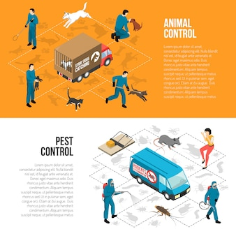 Animal control isometric horizontal banners