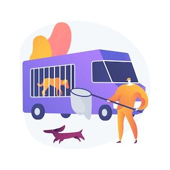 Illustrazione di concetto astratto di servizio di controllo degli animali. controllo della popolazione animale, servizio di soccorso, cattura di cani e gatti randagi, rimozione di cadaveri, problemi urbanistici