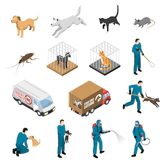 Animal control service isometric set