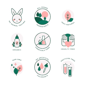 Animal cruelty free badges flat design set