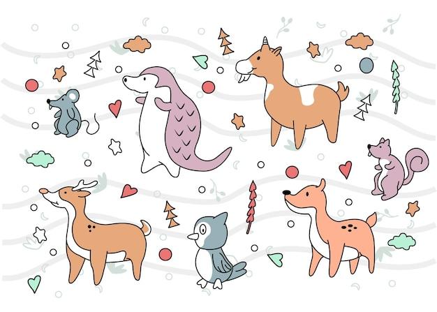동물 귀여운 배경 디자인