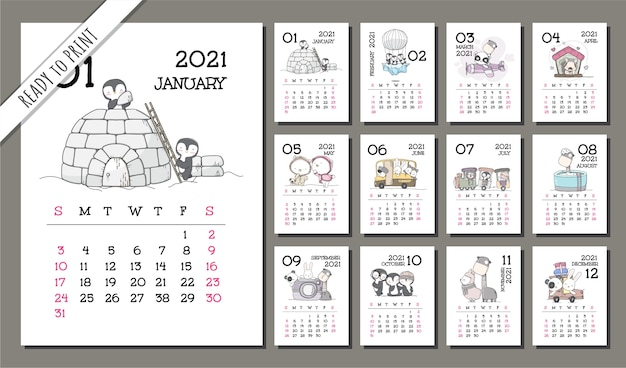 Набор шаблонов милого календаря для животных на 2021 год