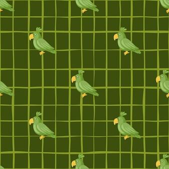 낙서 앵무새 요소와 동물 장식 완벽 한 패턴입니다. 녹색 체크 무늬 배경입니다. 패브릭 디자인, 섬유 인쇄, 포장, 커버용으로 설계되었습니다. 벡터 일러스트 레이 션.