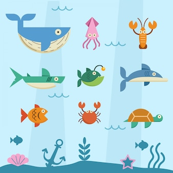 Animal in deep sea flat character set.