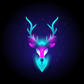 Animal deer head modern logo  with neon vibrant colors, abstract.