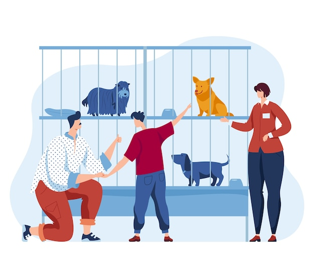 Animal dog shelter, illustration. woman man people character and cartoon pet, homeless puppy in cage look at family. father, son care about stray dog, happy rescue help and adopt design.