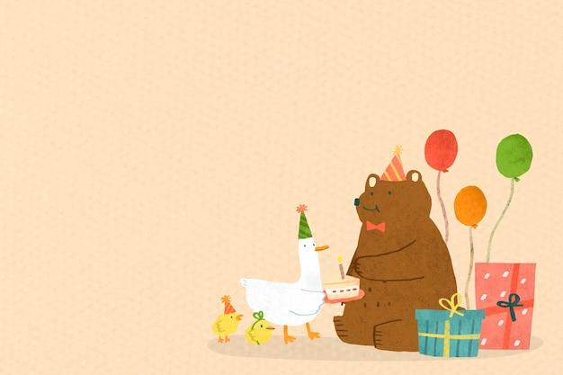 동물 낙서 생일 축하