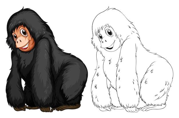 검은 침팬지를 위한 동물 낙서