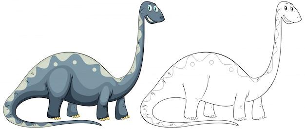 Animal doodle outline for long neck dinosaur
