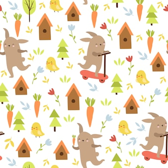 Animal doodle pattern, hare, chicken