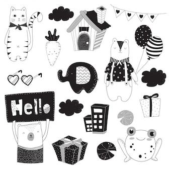 Animal doodle set black and white draw