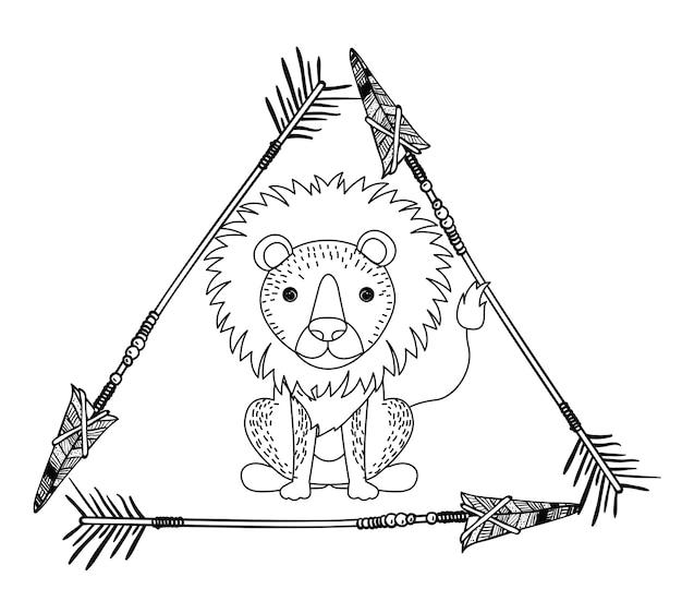 Animal drawing style boho icon vector illustration graphic