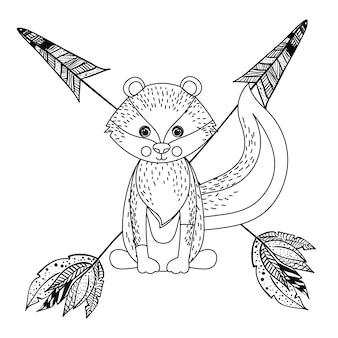 Животное рисунок стиль boho значок векторная иллюстрация графика Premium векторы