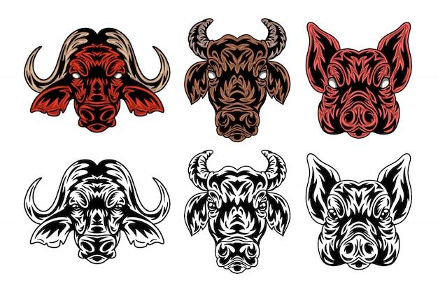 Animal face buffalo, cow, pig vintage retro styled.