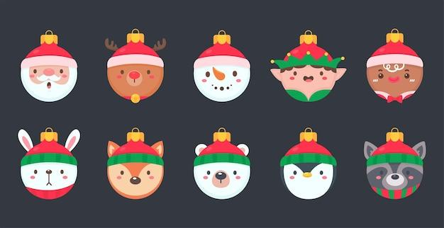 クリスマスの装飾のための赤い羊毛の帽子をかぶった動物の顔のクリスマスボール