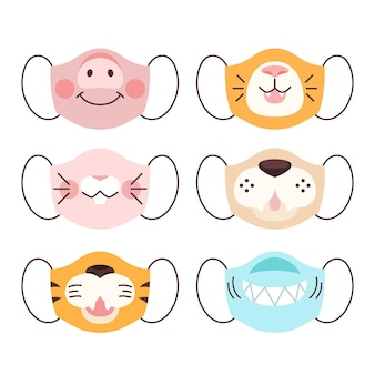 Animal face mask collection concept