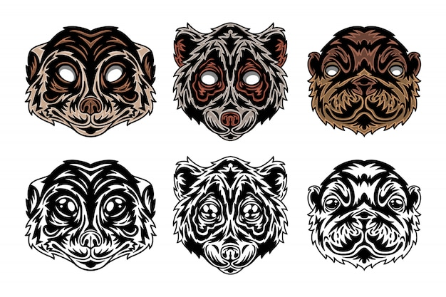 Animal face meerkat, lori lemur, sea otter vintage retro style.