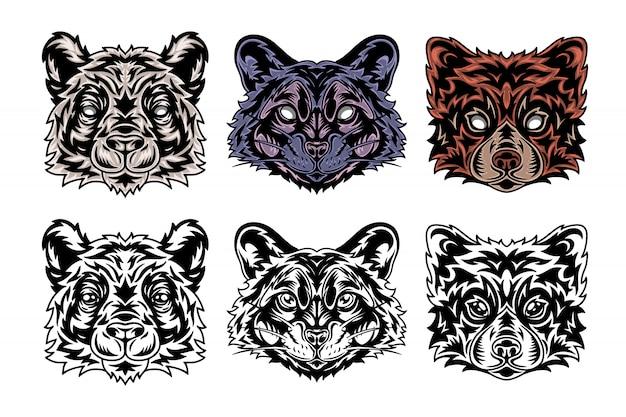 Animal face panda, raccoon, red panda. vintage retro style.