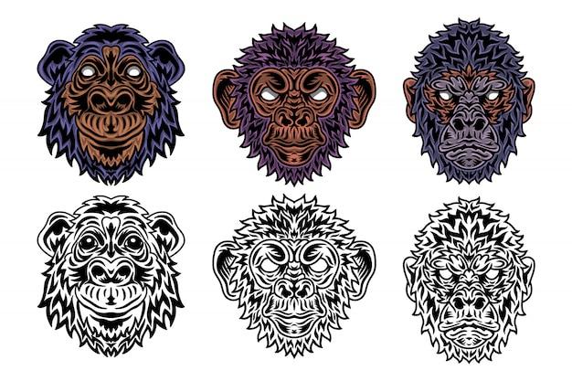 動物の顔霊長類、ゴリラ、チンパンジー、猿ビンテージレトロなスタイル。