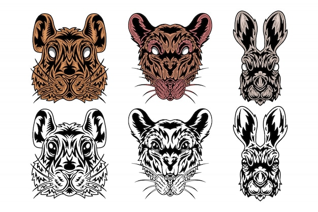 Animal face rat, hare, hamster vintage retro styled.
