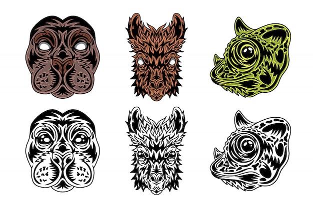 動物の顔のシール、ラマ、カメレオンヴィンテージレトロなスタイル。