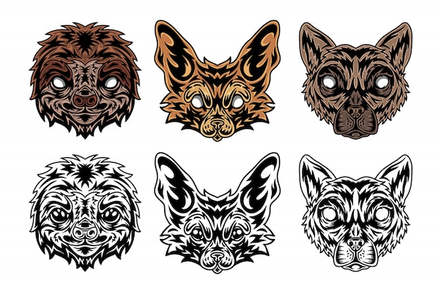 Animal face sloth, fenech fox, lemur vintage retro styled.
