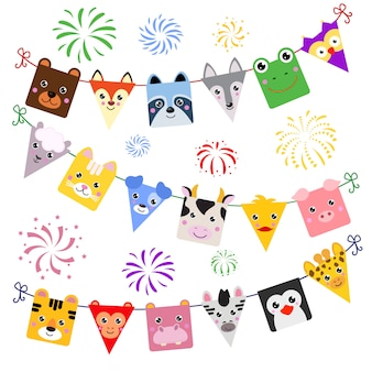 Animal face vector cartoon animalistic decor of kids happy birthday holiday