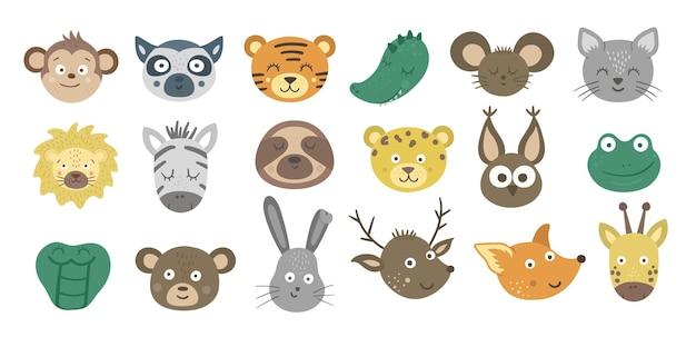 Коллекция лиц животных. набор наклеек emoji тропических и лесных персонажей. головы с забавными выражениями изолированы. набор милых аватарок