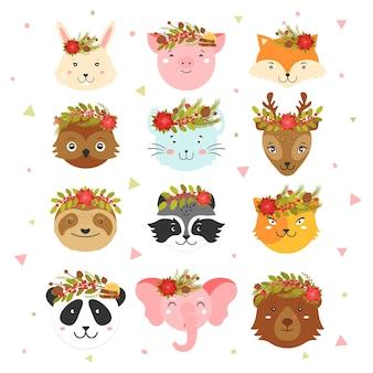머리에 크리스마스 화환을 얹은 동물의 얼굴 귀여운 크리스마스 동물들