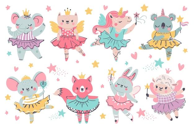 동물의 요정 발레리나. 발레 투투, 날개, 지팡이가 있는 공주 유니콘, 토끼, 코알라. 코끼리 왕관 춤. 벡터 발레리나와 발레 사랑스러운 코알라 코끼리, 왕관 그림의 양